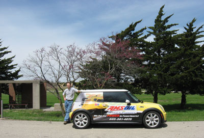 Taking a break in the AMSOIL Mini Cooper north of Witchita Kansas.
